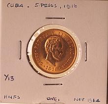 1916 Gold Cuba 5 Pesos