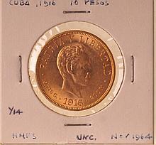 1916 Gold Cuba 10 Pesos