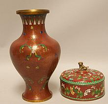 Cloisonne Vase & Lidded Box