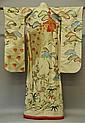Japanese Embroidered Silk Kimono w/ Obi