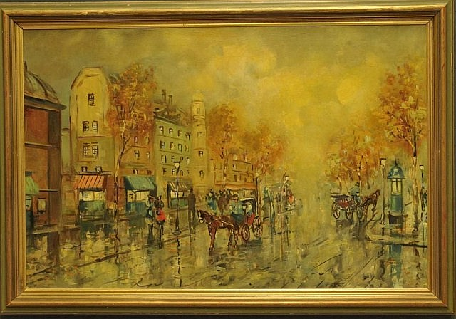 Framed Oil on Canvas of Paris Street Scene