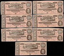 7 Consecutive Confederate $10 Notes