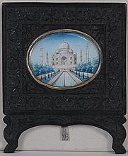 Taj Mahal Miniature in Carved Frame