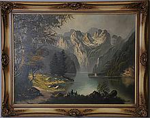 German School Alpine Lake Scene
