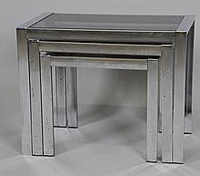 Set of 3 Chrome & Glass Nesting Tables