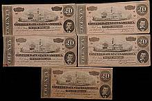 Five $20 Confederate Notes