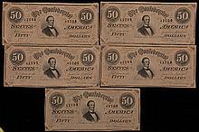 5 Consecutive Confederate $50 Notes