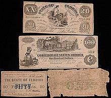 Four Confederate Notes