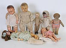 7 German Bisque, Composition, Cloth Dolls