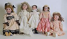 Lot of 5 German Bisque Dolls