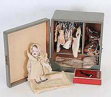 Miniature Bisque Doll in Case, Doll Accessories