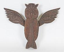 American Folk Art Carved Owl Wall Plaque
