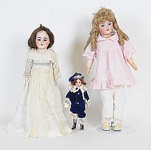 Lot of 3 German Bisque Dolls