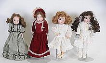 Lot of 4 German Bisque Dolls