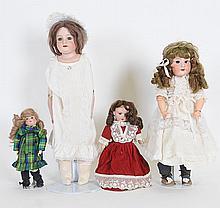 Lot of 4 German Bisque Dolls