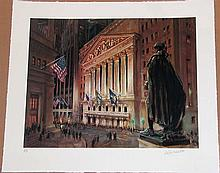 Kamil Kubik, Wall Street at Night, Signed Serigraph