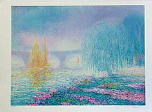 Claude Manoukian, Pont sur Yonnes, Signed Lithograph
