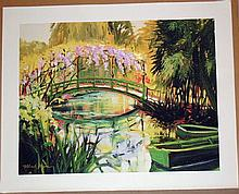 Michele Byrne, Monets Bridge, Signed Canvas Print