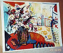Bracha Guy, Terrace Table, Signed Oil on Canvas