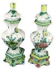 20th Century Italian Faience Pair of Lamps
