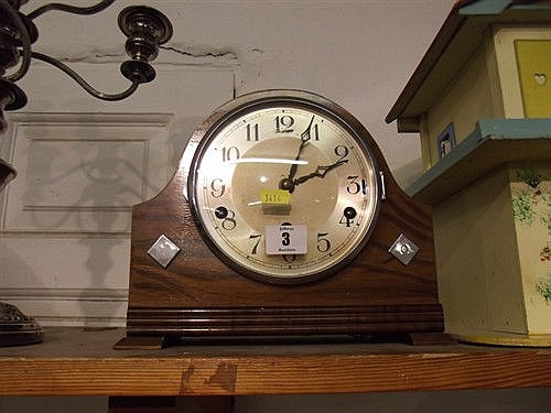 ART DECO WALNUT DOMED TOP MANTLE CLOCK