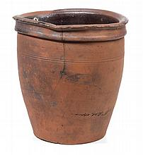SIGNED WILLIAM R. COFFMAN, ROCKINGHAM CO., SHENANDOAH VALLEY OF VIRGINIA EARTHENWARE / REDWARE CROCK