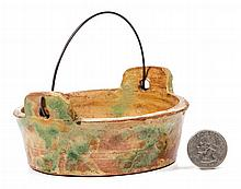 ANTHONY BAECHER ATTRIBUTED, WINCHESTER, SHENANDOAH VALLEY OF VIRGINIA DECORATED EARTHENWARE / REDWARE DIMINUTIVE TUB