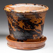 MID-ATLANTIC DECORATED EARTHENWARE / REDWARE FLOWER POT