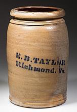 VIRGINIA MERCHANT'S STENCILED STONEWARE JAR