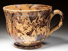 POSSIBLY UNIQUE DOUBLE STAMPED BAECHER, WINCHESTER, SHENANDOAH VALLEY OF VIRGINIA DECORATED EARTHENWARE / REDWARE PORRINGER