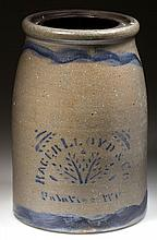 WEST VIRGINIA STENCILED STONEWARE CANNER