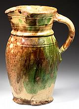 STRASBURG, SHENANDOAH VALLEY OF VIRGINIA POLYCHROME-DECORATED EARTHENWARE / REDWARE PITCHER