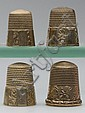 SIMONS BROTHERS 10K GOLD AND GOLD-FILLED THIMBLES, LOT OF FOUR