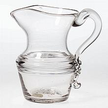 FREE-BLOWN THOMAS CAINS THREE-THREAD DECORATION CREAM JUG