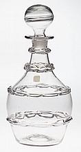 FREE-BLOWN THOMAS CAINS CHAIN-DECORATED QUART DECANTER