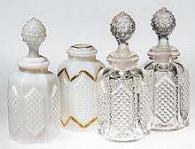 PRESSED DIAMOND-POINT PANEL COLOGNE BOTTLES, LOT OF FOUR