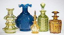 ASSORTED BLOWN-MOLDED AND PRESSED COLOGNE BOTTLES, LOT OF FIVE