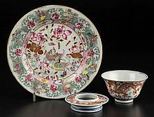 CHINESE EXPORT PORCELAIN PLATE AND RICE BOWL WITH COVER, LOT OF THREE