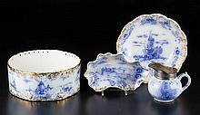 WARWICK CHINA CO., WHEELING, WEST VIRGINIA FLOW BLUE TABLE ARTICLES, LOT OF FOUR