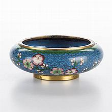CHINESE CLOISONNE ENAMEL BLUE BOWL ON FOOT