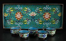 CHINESE CLOISONNE ENAMEL TABLE ARTICLES, LOT OF SIX