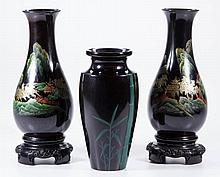 ASIAN LACQUER VASES, LOT OF THREE