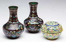 ASIAN CLOISONNE ENAMEL PAIR OF SMALL VASES AND A CHINESE BOX