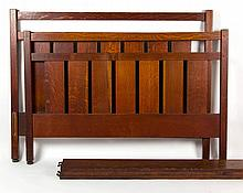 L. & J. G. STICKLEY, ATTRIBUTED, ARTS AND CRAFTS / MISSION OAK #114 BED