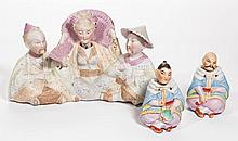 CONTINENTAL BISQUE PORCELAIN NODDERS, LOT OF THREE