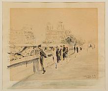 GABRIEL SPAT (FRENCH-AMERICAN, 1890 - 1967) PARISIAN STREET SCENE PAINTING