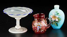 ASSORTED ART GLASS ARTICLES, LOT OF THREE