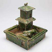 CHINESE HAN DYNASTY POTTERY GREEN-GLAZED PIG PEN WITH TWO-TIERED SHED