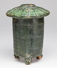 CHINESE HAN DYNASTY POTTERY GREEN-GLAZED MODEL OF A GRANARY