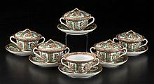 CHINESE EXPORT PORCELAIN ROSE MEDALLION BOWLS, COVERS AND SAUCERS, LOT OF 12